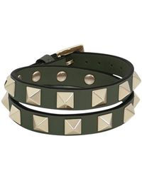 Valentino - Rockstud Wrap Leather Cuff Oasis - Lyst