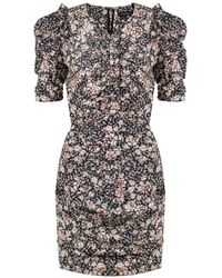 Isabel Marant - Brizia Spring Flower Print Dress Black - Lyst