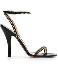 Valentino - Mini Rockstud Open Toe 110mm Sandal Black - Lyst