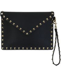 Valentino Rockstud Embellished Leather Pouch Bag
