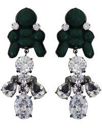 EK Thongprasert - Silicone Drop Earrings Dark Green/white Crystals - Lyst