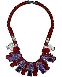 EK Thongprasert | Silicone Five Jewel & Metal Neckpiece Red/amethyst Crystals | Lyst
