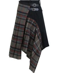 Sacai - Poplin Wrap Skirt Grey Check - Lyst