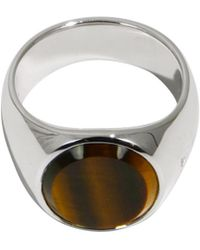 Tom Wood Tiger Eye Oval Ring Silver - Multicolour