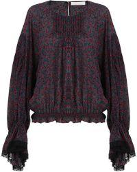 Chloé - Bell Sleeve Cherry Print Blouse Crimson/black - Lyst