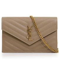 Saint Laurent - Monogramme Quilted Chain Wallet Light Taupe/gold - Lyst