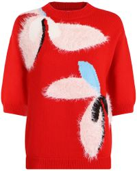 Delpozo - Flower Print Textured Knit S/s Tomato Red - Lyst