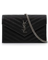 Saint Laurent - Monogramme Envelope Quilted Chain Wallet Black/silver - Lyst