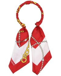 Balenciaga - Jewel Chain Scarf Necklace Red/white - Lyst