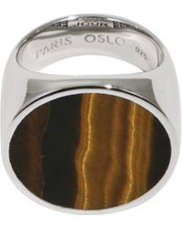 Tom Wood - Flush Tiger Eye Circle Ring Silver - Lyst