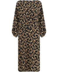 Isabel Marant - Etoile Lisa Floral Print Midi Dress Ochre/black - Lyst