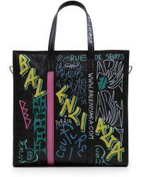 Balenciaga - Medium Bazar Graffiti Leather Tote Bag - Lyst