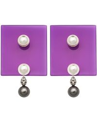 Sylvio Giardina - Perspex Square Stud Earrings Purple - Lyst