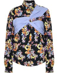 MSGM - Floral Print Shirt Black/blue - Lyst