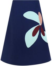 Delpozo - Floral Patchwork Skirt Insignia Blue - Lyst