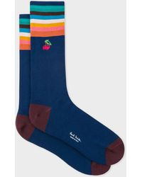 Paul Smith - Navy 'Artist Stripe' Cuff Socks With Embroidered Motif - Lyst