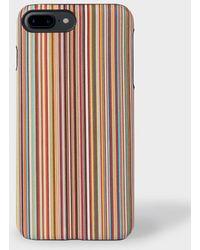 Paul Smith - Signature Stripe Leather iPhone 7 Plus Case - Lyst