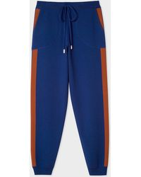Paul Smith - Indigo Knitted Sweatpants With Rust Side Band - Lyst