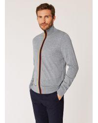 Paul Smith - Grey Merino Wool 'artist Stripe' Zip-through Cardigan - Lyst