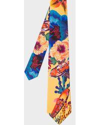 Paul Smith - Men's Yellow 'Ocean Floral' Print Silk Tie - Lyst