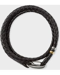 Paul Smith - Dark Brown Leather Wrap Bracelet - Lyst