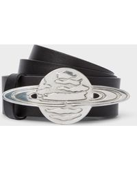 Paul Smith - Black Leather Belt With 'explorer Saturn' Buckle - Lyst