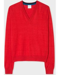 Paul Smith - Red V-neck Wool-silk Sweater With Openwork Details - Lyst