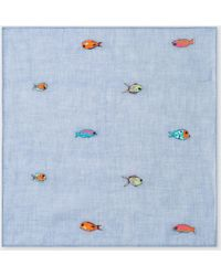 Paul Smith - Light Blue Embroidered 'Fish' Pocket Square - Lyst