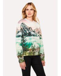 Paul Smith - Pastel Pink 'Mountain Scene' Print Cotton Sweatshirt - Lyst