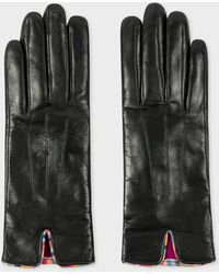 Paul Smith - Black Leather Gloves With 'Swirl' Piping - Lyst