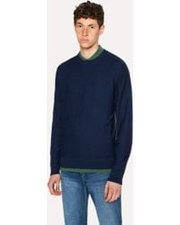 Paul Smith - Navy Wool Sweater With Side Stripes - Lyst