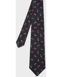 Paul Smith - Black Flower Embroidery Silk Tie - Lyst