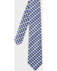 Paul Smith - Cravate Homme À Carreaux Bleus Et Blancs En Soie - Lyst