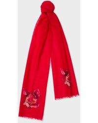 Paul Smith - Red 'year Of The Pig' Motif Wool And Cashmere Scarf - Lyst