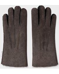 Paul Smith - Dark Brown Sheepskin Gloves - Lyst