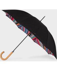 Paul Smith - Black 'swirl' Canopy Walker Umbrella With Wooden Handle - Lyst