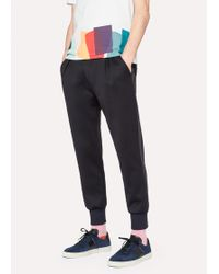 Paul Smith - Black Cotton-Blend Jersey Panelled Casual Trousers - Lyst