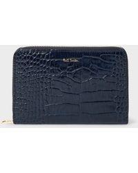 Paul Smith - Medium Blue Mock-Croc Leather Zip-Around Wallet - Lyst