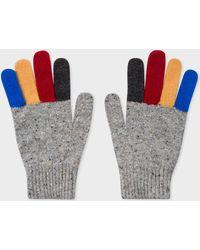 Paul Smith - Grey Donegal Stripe Wool Gloves - Lyst
