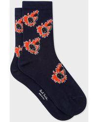 Paul Smith Navy Floral Motif Socks