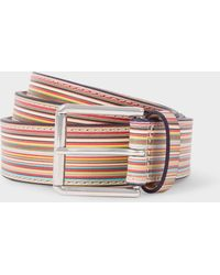 Paul Smith - Embossed Signature Stripe Leather Belt - Lyst