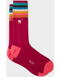 Paul Smith - Burgundy 'Artist Stripe' Cuff Socks With Embroidered Motif - Lyst