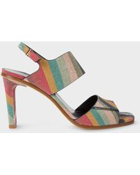 Paul Smith - Metallic Silver Leather 'Molly' Heeled Sandals - Lyst