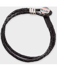 Paul Smith - Stripe Button Black Leather Bracelet - Lyst