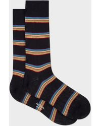 Paul Smith - Dark Navy Multi-Coloured Block Stripe Socks - Lyst