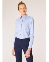 Paul Smith - Sky Blue Slim-fit Stretch-cotton Shirt With Multi-colour Buttons And 'sports Stripe' Cuff Lining - Lyst