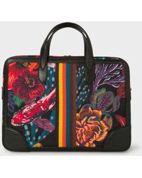Paul Smith | Men's Black 'Ocean' Print Canvas Business Folio With 'Bright Stripe' Webbing | Lyst
