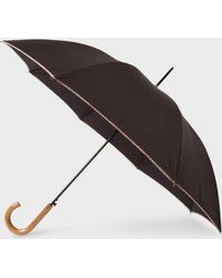 Paul Smith - Black Signature Stripe Canopy Walker Umbrella With Wooden Handle - Lyst
