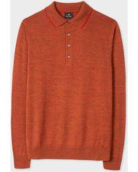 Paul Smith - Burnt Orange Merino Wool Long-Sleeve Polo Shirt - Lyst