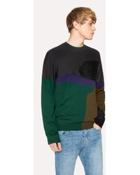 Paul Smith - Men's Grey Colour-block Textured-knit Jumper - Lyst